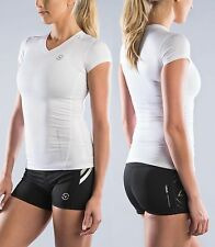 Virus Stay Cool Short Sleeve Compression WHITE V-Neck SMALL Shirt ECo6 Crossfit
