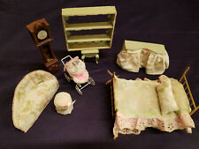 Vintage Rare Antique Metal and Wood Doll House Master Bedroom Furniture Play Set