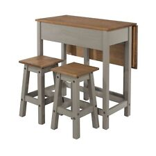 Premium Corona Pine Solid Grey Washed Drop Leaf Breakfast Table & 2 Stools