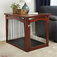 Dog Crate Furniture Wood Cage House Table Pet Gates Door Puppy Kennel Brown NEW