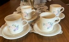 Set of 4 Pfaltzgraff Large Coffee Cup Mugs with saucer Pink Flowers Stoneware