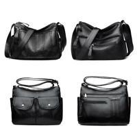 Women Simple Shoulder Handbags PU Leather Solid Color Crossbody Messenger Bags