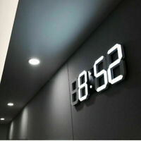 Modern Digital 3D White LED Wall Clock/Alarm Clock Snooze 12/24 Hour Display USB