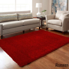 Red Shaggy Rug 160 x 230 cm Plain Thick Soft High Pile 5ft3''x 7ft7''