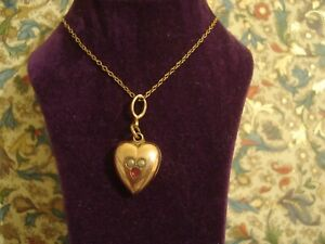 Very Pretty Antique Edwardian: Seed Pearls Set Gold Filled Heart Pendant & Chain