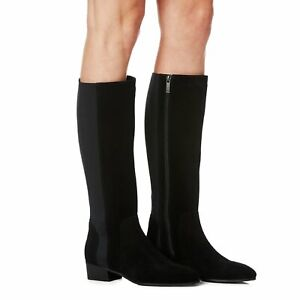 New $550 Aquatalia Flore Black Suede Leather Stretch Tall  Knee High Boots 8