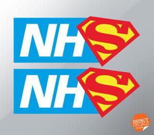 NHS Superheros car sticker pair (x 2) 150 x 60mm. Plus donation to charity
