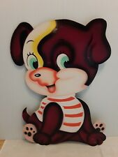 Vintage Puppy Dog Wall Art Nursery Decor Masonite