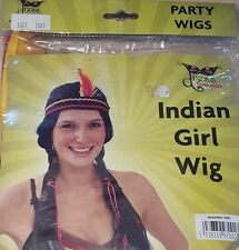 1x Indian Girl Black Wig With Red & Orange Feathers.