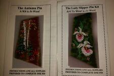 Lot of 2 Jo Wood beading kits,The Lady Slipper Pin, Autumn Pin, bead appliqué