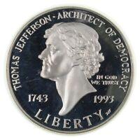 Proof 1993 Thomas Jefferson Democracy Silver Commemorative US Dollar 90% Silver