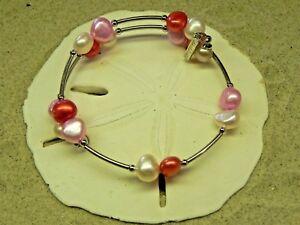 New Vantel Pearls Silver Tone Rose Parade Bracelet B2967 Size 6mm Pink Pearl