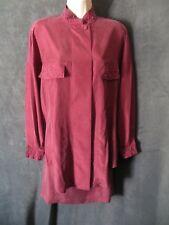 NWT Vintage Spiegel Apart Burgundy Sueded 100% Silk Beaded Dress Top Skirt Set M