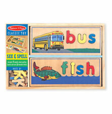 New Melissa & Doug Wooden See & Spell Learning Toy Puzzle Letters Words ABC