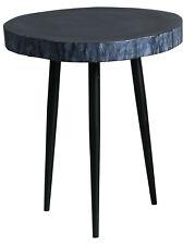 Medium Black Wood Slab Side Table With  Metal Legs