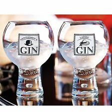 2x Alternato Gentlemen's & Ladies Gin Drinking Glasses 540ml Tonic Martini