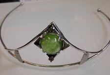 Designer Custom 10+ct cabochon Peridot .5 ct diamond 14k white gold & Ss Tiara