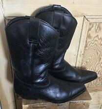 Cowboy Western Boots Black Leather Size 45/ U.K. 11