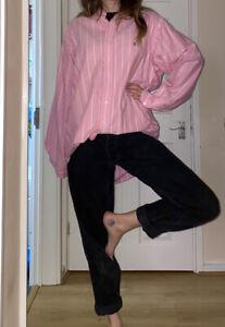 💗 Vintage Pink White Pastel Over Sized Ralph Lauren Boyfriend Fit shirt 14 16