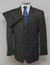 Mens 42R Jones New York 2 Piece Brown Stripe Wool Blend Suit
