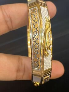 Stunning Dubai Handmade Jaguar Men's Bangle Bracelet In 916 Stamped 22Karat Gold