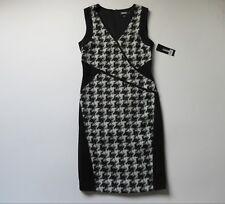 NWT DKNY Houndstooth Cross Front Panel Colorblock Sleeveless Sheath Dress 8 $395