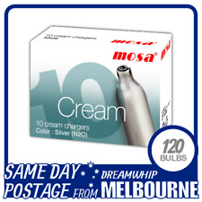 SAME DAY POSTAGE MOSA CREAM CHARGERS 10 PACK X 12 (120 BULBS) WHIPPED N2O