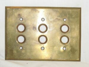 antique vintage switch plate cover six button gang hole old vintage metal