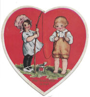 Vintage Die Cut Heart Shape Valentine Greeting Card Little Girl Fishing with Boy