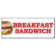 BREAKFAST SANDWICH FOOD FAIR TRUCK RESTAURANT 2' x 4' Banner Sign w/4 Grommets