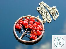 Handmade Red Coral Tree of Life Natural Gemstone Pendant Necklace 50cm Healing