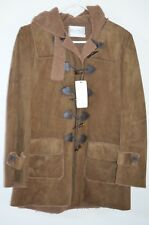 NWT Max Mara Brown Ultra Suede Fleece Lined Toggle Button Hooded Coat Size L