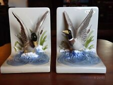 Vintage Pair of OMC Handpainted MALLARD DUCK 3D BOOKENDS w/ LABEL Japan