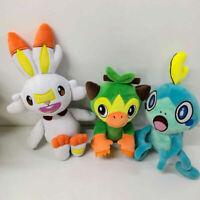Pokemon Grookey Scorbunny Sobble Plush Doll Stuffed Animal Figure Toy Collection