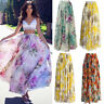Women's Casual Chiffon BOHO Ladies Flower Gypsy Long Maxi Full Skirts Sundress