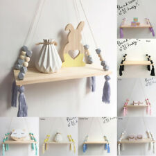 Cute Baby Kids Storage Wood Rope Swing Wall Hanging Shelf Shelves Holder Decor
