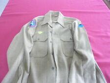 WW II US ARMY OD wool uniform shirt ( 2 units, duck) fold over patch (tag)