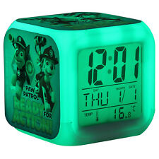 Paw Patrol Boys Kids Digital Alarm Clock Calendar 7 Colour Changing LED Blue