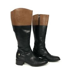 Etienne Aigner Womens Black Brown Leather Equestrian Riding Boots 8.5