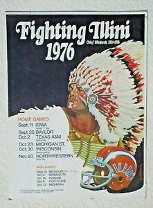 Vintage 1976 ILLINOIS FOOTBALL FIGHTING ILLINI CHEIF ILLINIWEK Schedule Poster