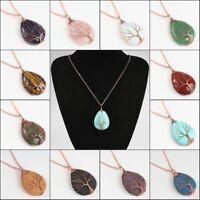 Natural Gemstones Teardrop Rose Gold Tree of Life Reiki Chakra Pendant Necklace