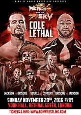 """Official ROH Ring of Honor """"Reach for the Sky Tour: London"""" UK A2 Poster"""