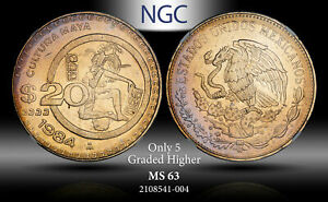 1984-Mo MEXICO 20 PESOS NGC MS63 ONLY 5 GRADED HIGHER TONED ***TONED***