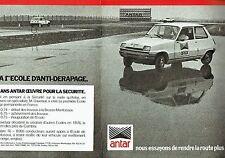 Publicité Advertising 037  1975  Antar (2p)   école Anti-dérapage  Renaut 5  R5