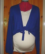 BNWT MATERNITY Ladies Navy Long Sleeved Front Tie Short Cardigan Size L - 14-16