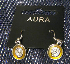 Lovely silver tone metal earrings with golden decoration