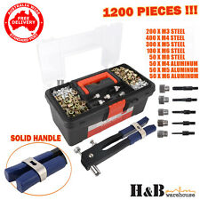 1200 Pcs Rivnut Rivet Nut Nuts Gun M3 to M8 Rivnuts Nutsert Tool Kit Set T0270