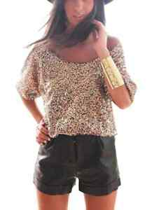 Off Shoulder Gold Sequin Crop Top Australia Evening Wear Glitter Blouse RRP$50