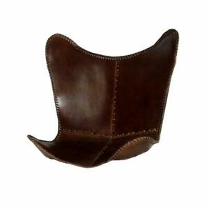 Butterfly Chair Brown Rustic Leather Cover Handmade(Only Cover)