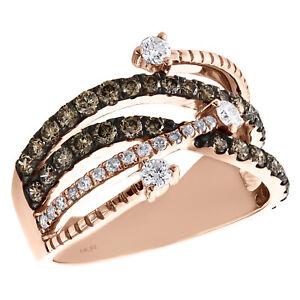 10K Rose Gold Brown Diamond Waved Intertwined Split Design Cocktail Ring 1 CT.